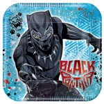 These 9-inch square printed luncheon plates feature the Black Panther character T'Challa and the Black Panther name set against a blue background. Eight plates per package. Made of coated paper. Coordinating items available.