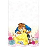 The Beauty and the Beast Tablecover is printed with an image of Beast, Belle, Lumiere, and Mrs. Potts along the scalloped edge. This printed table cover measures 54 inches by 96 inches and is printed on one side. One per package.