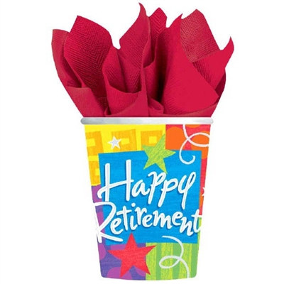 Happy Retirement Hot/Cold Cups (8/pkg)