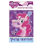 If you're throwing a My Little Pony theme party, then you need the My Little Pony Invitations to send out to all of your guests. Each invitation is printed with the Pinkie Pie image, and has designated spaces to enter all of the event details. Pack of 8.