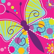 Butterfly Birthday Beverage Napkins (16/pkg)