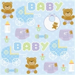 Teddy Baby Blue Beverage Napkins (16/pkg)
