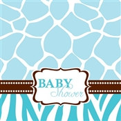 Blue Baby Safari Shower Lunch Napkins (16/pkg)
