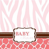 Pink Baby Safari Shower Lunch Napkins (16/pkg)