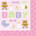 Teddy Baby Pink Lunch Napkins (16/pkg)