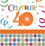 Birthday Celebration 40th Lunch Napkins (16/pkg)