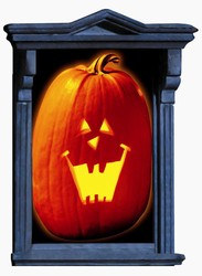 Pumpkin Window Magic, Size: 33 1/2 Inches x 65 Inches, Works when you have the lights on