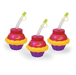 Plastic Happy Birthday Cupcake Cup with Straw
