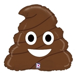 "Emoji Poo Balloon 20"" will be sure to grab your attention. This brown poo-shaped foil balloon features a smiling expression on both sides. Fill with helium. One per package."