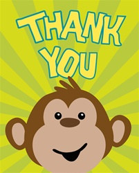 Monkey Party Thank You Cards