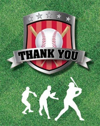 Baseball Party Thank You Cards