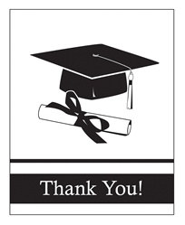 White Congrats Grad Thank You Cards