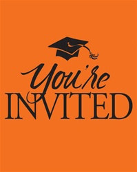 Orange Congrats Graduation Invitations (25/pkg)