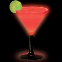 Red Glow Light Up Martini Glass (1/pkg)