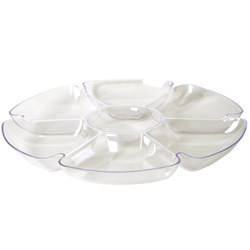 Clear Plastic Chip and Dip Tray (1/pkg)