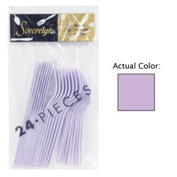 Lilac Assorted Plastic Cutlery (24/pkg)