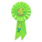"This bright green ""My 4th Birthday"" rosette ribbon makes a great little party favor to hand out to the guests attending that special toddler's birthday. Each ribbon has a pin on the back of the rosette so it can be easily attached to the wearer."