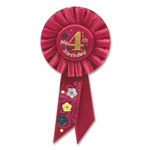 Red My 4th Birthday Rosette Ribbon