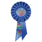 Blue It's My Birthday Rosette Ribbon