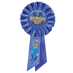 Birthday Boy Rosette Ribbon with Fireworks