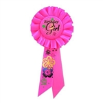 Birthday Girl Rosette Ribbon with Flowers