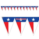 "The Texas Pride Pennant Banner is made of all weather material. Has 12 pennant flags. Each pennant is half red and half white with a blue stripe along the top with one star. Alternating flags read Texas proud. Measures 11 in by 7'4"" long. 1 per pack."