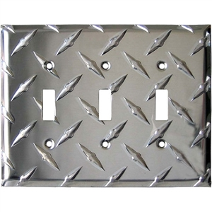 Performance World 13 Diamond Chrome Triple Light Switch Cover