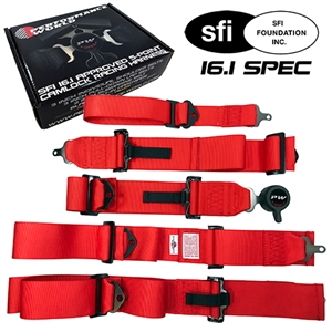 270520 SFI 16.1 5-Point Camlock Racing Harness Red