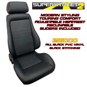 Performance World 281000 SuperStreet2 Touring Black PVC Vinyl Seats. Pair