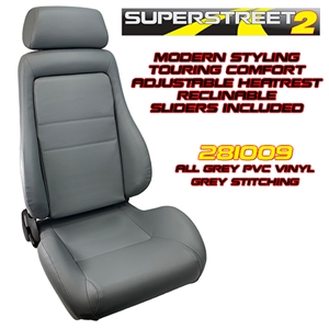 Performance World 281009 SuperStreet2 Touring Grey PVC Vinyl Seats. Pair