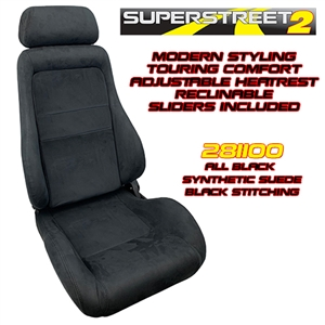 Performance World 281100 SuperStreet2 Touring Black Synthetic Suede Seats. Pair