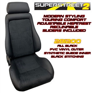 Performance World 281200 SuperStreet2 Touring Black PVC Vinyl/Synthetic Suede Seats. Pair