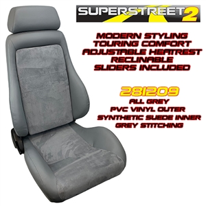 Performance World 281209 SuperStreet2 Touring Grey PVC Vinyl/Synthetic Suede Seats. Pair