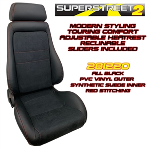 Performance World 281220 SuperStreet2 Touring Black PVC Vinyl/Synthetic Suede Seats. Red Stitching. Pair