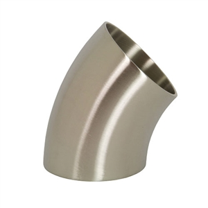"Performance World 304425 2.50"" Sanitary T304 Stainless Steel 45 Degree Elbow. 2.75"" Radius. 16ga."