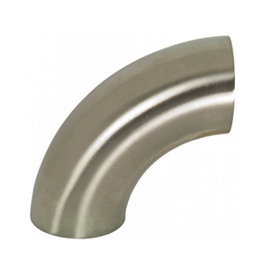 "Performance World 304925 2.50"" Sanitary T304 Stainless Steel 90 Degree Elbow. 3.75"" Radius. 16ga."