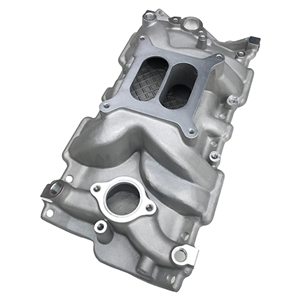 Performance World 650000 SB Chevrolet Dual Plane Intake Manifold. RPM range 1,500-6,800. Satin finish. Standard square bore carburetor pattern. Fits 1955-1986 Chevrolet.