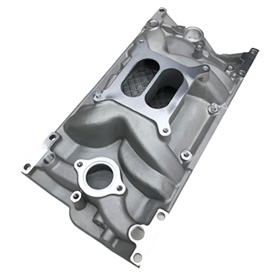 Performance World 650001 SB Chevrolet '96-'00 Vortec (L31) Dual Plane Intake Manifold. RPM range 1,500-6,500. Satin finish. Standard square bore carburetor pattern.