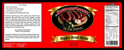Peppered Dried Sausage Sticks Seasoning, 2 lbs.