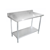 "Stainless Steel Table with Backsplash, 24"" x 72"""