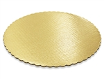 "12"" Round Gold Scalloped Cake Pad"