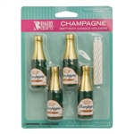 Champagne Party Candle Holders with Candles - 4 Pack