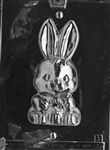 3D Cute Bunny Holding Basket Chocolate Mold front easter E417 animal rabbit