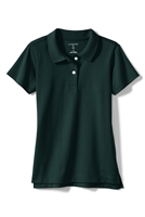 Lands' End Girl's Polo Shirt - Short Sleeve, Green Knit
