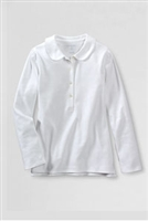 Lands' End Girl's Polo Shirt - Long Sleeve, White Knit Peter Pan Collar