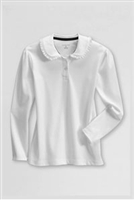 Lands' End Girl's Polo Shirt - Long Sleeve, White Knit Ruffle Collar