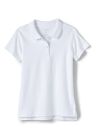 Lands' End Girl's Polo Shirt - Short Sleeve, White Knit