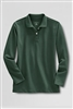 Lands' End Girl's Polo Shirt - Long Sleeve, Green Mesh