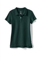 Lands' End Girl's Polo Shirt - Short Sleeve, Green Mesh