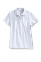 Lands' End Girl's Polo Shirt - Short Sleeve, White Mesh